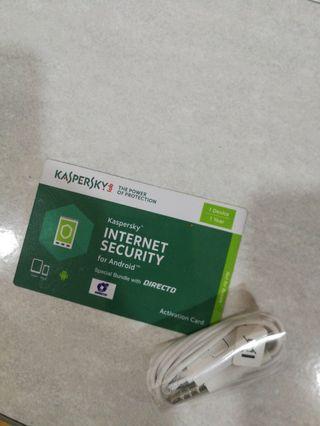 Samsung original handsfree + kaspersky free