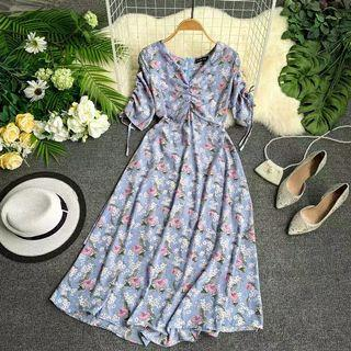 chic韓版藍色花朵皺褶V領小心機抽繩短袖收腰顯瘦海邊度假中長洋裝連衣裙春夏