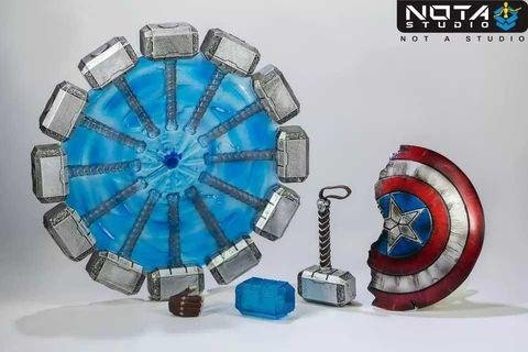 VERY RARE & HOT! *Pre-Order* Marvel Avengers Endgame NOT A STUDIO Captain America Worthy Broken Shield and Mjolnir Hammer set with effects!