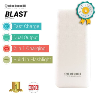 Delcell Power Bank BLAST 9000mAh - Real Capacity - Putih - Putih