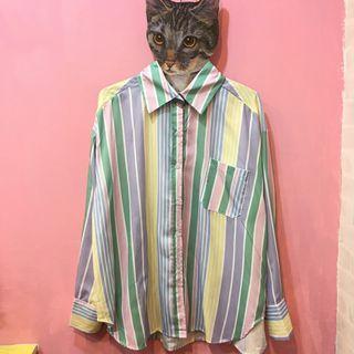 [彩色櫥窗]雪紡夏日輕薄棉花糖配色直條紋襯衫外套