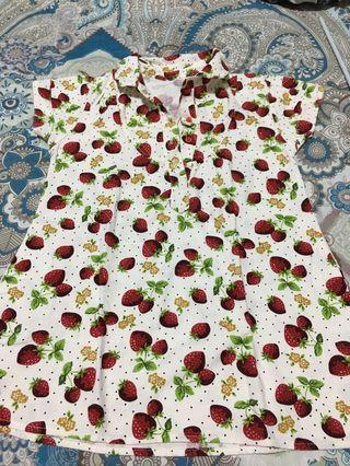 Strawberry dress blouse