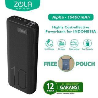 Powerbank Zola Alpha 10400mAh Fast Charge 2.1 Dua Output