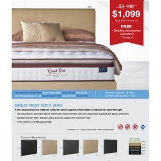 Pocketed Spring Mattress with Bed Bundle SALE