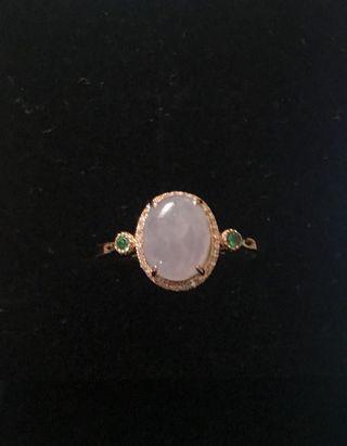 18K玫瑰金紫羅蘭翡翠鑽石戒指