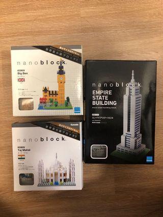 全新 Nanoblock 三盒 (Big Ben, Taj Mahal, Empire State Building)