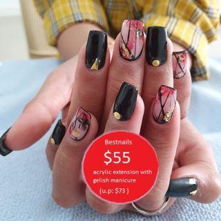 Nail extension / Nail overlay / Bride nail / Nail gelish mani & pedi