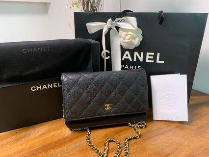 🚚 Chanel Wallet on chain caviar ghw