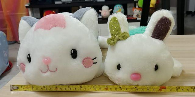 可愛猫仔兔仔毛公仔 Lovely Cute Cat & Rabbit Soft Toy