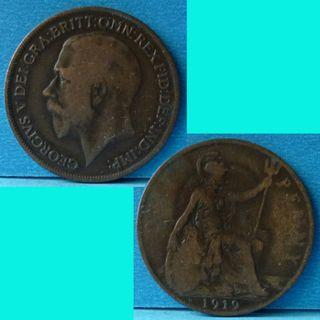 Coin UK Great Britain 1 Penny 1919 KGV km 810
