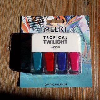 🚚 BNIB MEEKI tropical twilight blue red green purple pink nail polish