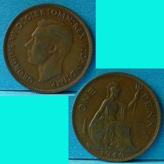 Coin UK Great Britain 1 Penny 1940 KGVI km 845