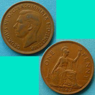 Coin UK Great Britain 1 Penny 1947 KGVI km 845