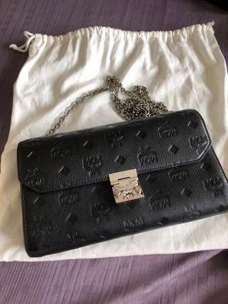 MCM Millie Monogrammed leather wallet clutch on chain woc