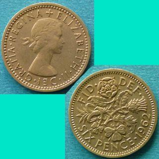 Coin UK Great Britain 6 Pence 1962 QEII km 903