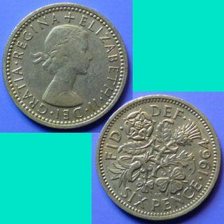 Coin UK Great Britain 6 Pence 1964 QEII km 903