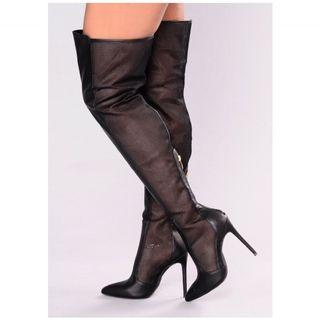 Brand new leather and mesh thigh high boots sz 7