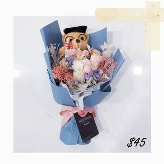 #197 | Graduation Bear Dried Flowers Bouquet | Graduation 2019 | Convocation 2019 | Message Card Included | Flower Delivery
