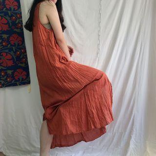 🚚 刺繡 花朵 棉麻 森林 皺摺 舒適の洋裝 •4ingood•