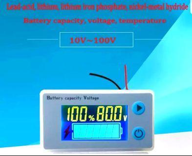 ***In-Stock = Voltmeter Universal Acid Lead Lithium Battery Capacity Indicator Digital Voltage Temperature Percentage OnOff Sealed 10v-100v
