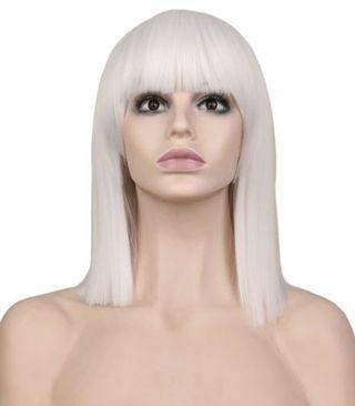 Brand new white synthetic wig with cap