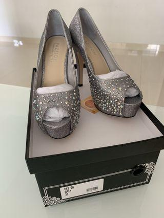 Pazzion Grey/ Silver Glittering Heels