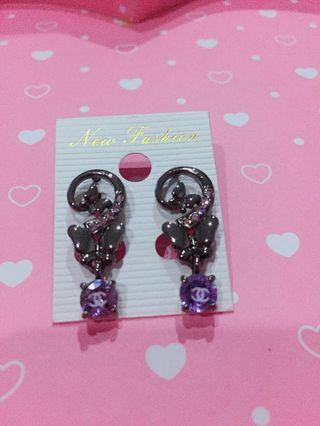 名牌經典紫鑚耳環