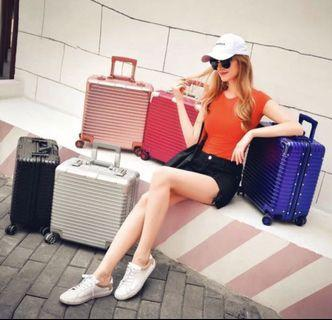 Square Cabin Size Luggage, Black Silver Rosegold Pink White Blue Luggage