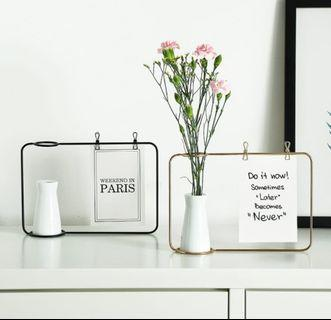 🚚 Living Room Iron Photo Frame Décor with Vase