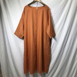 🚚 暖橘 棉麻 寬鬆 口袋 長T/長洋 •4ingood•