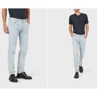 【專櫃正品】Armani Jeans AJ Indigo 008 Series淺藍刷色 直筒修身 牛仔長褲 男款 實拍