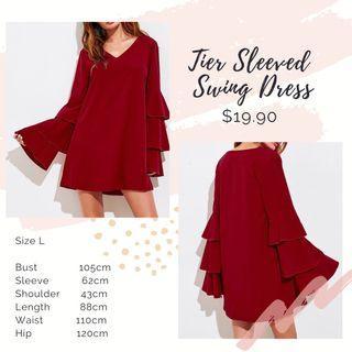🚚 [ Size L ] Tier Sleeved Swing Dress