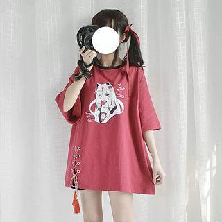 Cute Japanese Fox Girl Shirt Dress