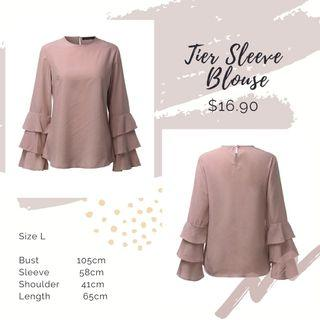 [ Size L ] Tier Sleeve Blouse