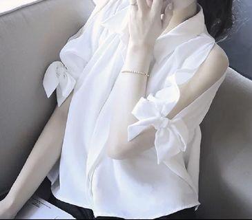 white work top白色襯衫(手袖綁帶)
