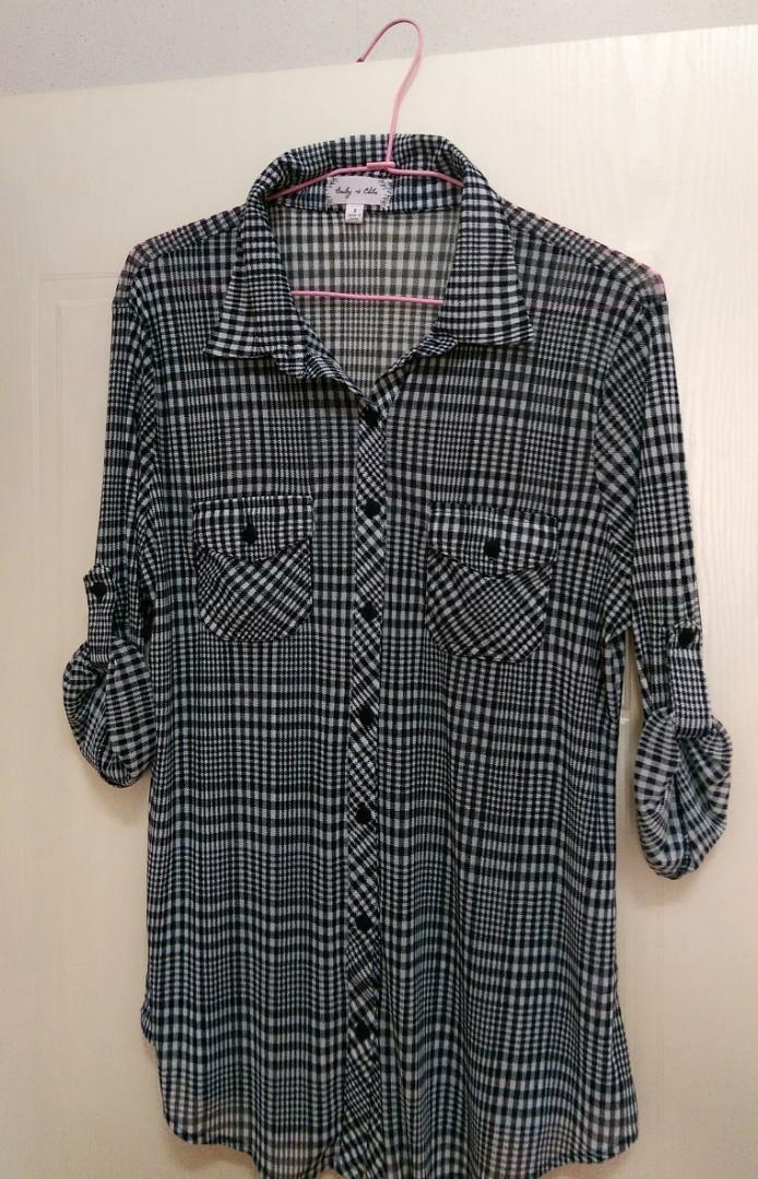 格子7分袖襯衫