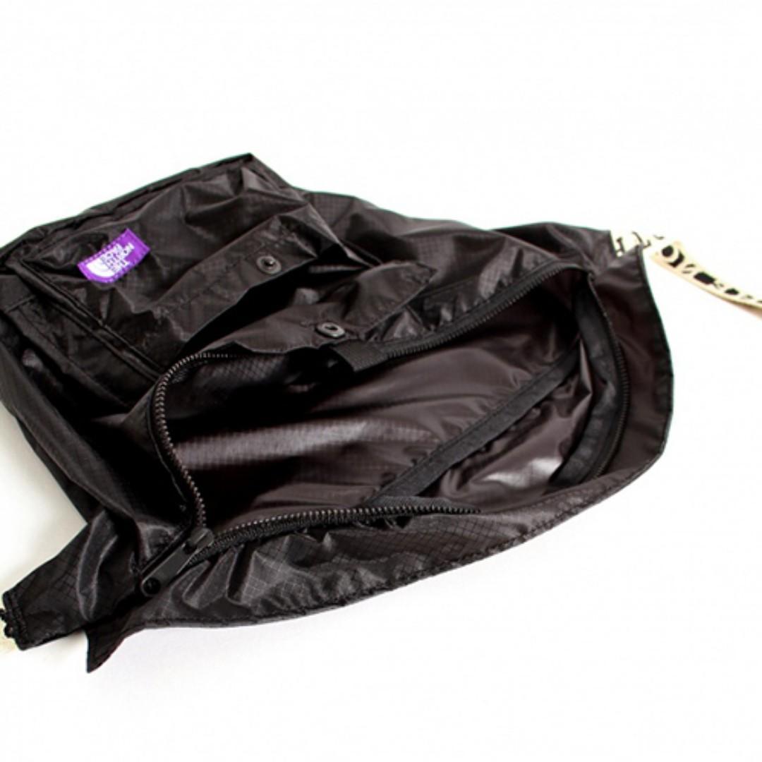 日版 The North Face 紫色Label 黑色防潑水尼龍布 LOGO咩帶 斜咩 腰包