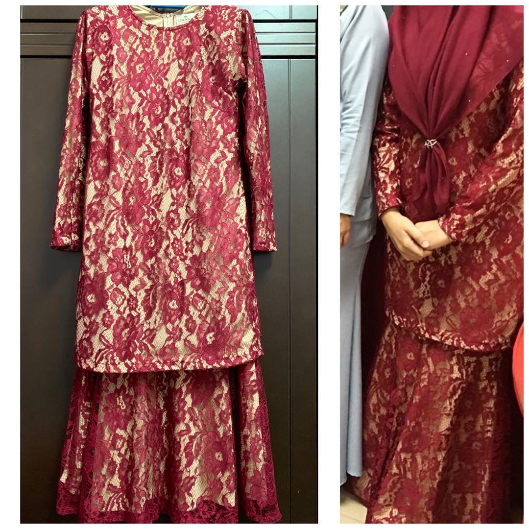 Baju Kurung Moden Lace Muslimah Fashion Two Piece On Carousell