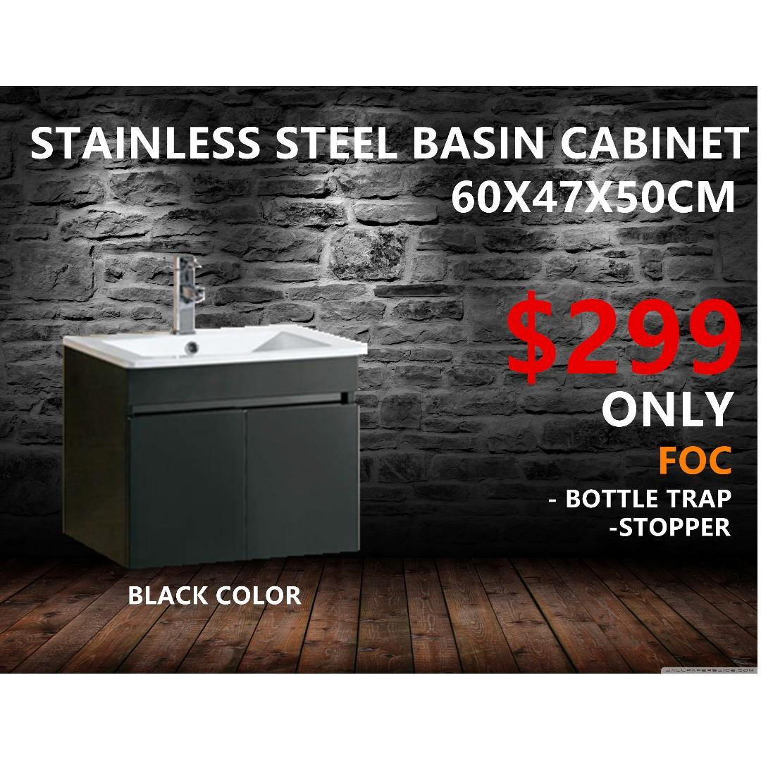 Special package Black stainless steel basin cabinet 60x47x50cm