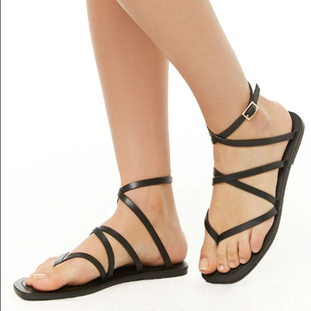 043062a011d13 BN Forever21 Strappy Thong Sandals. Black PU Leather Gladiator Flats ...