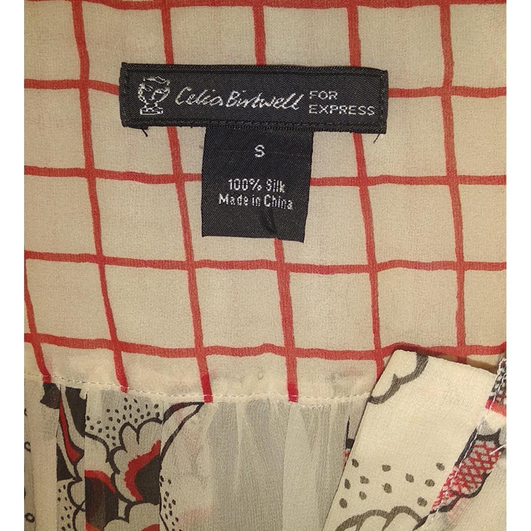 Celia Britwell limited edition silk red and cream shirt