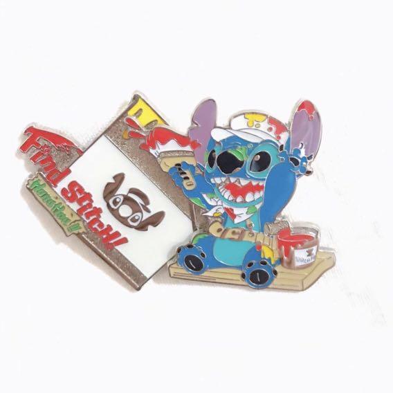 Disney Pin 迪士尼襟章 Stitch 史迪仔 - Find Stitch Painting