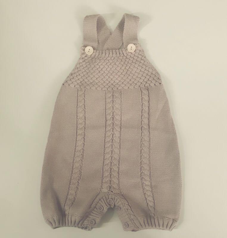 Doll me up kids baby unisex knitted teddy overall romper from 6 months +