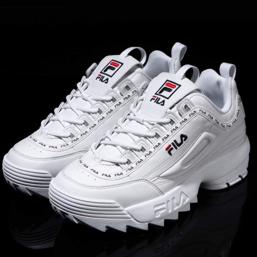 Fila disruptor 2 white tapey tape shoes