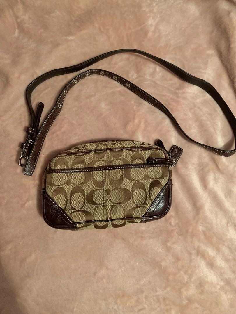 Genuine Brown Beige Coach Leather Monogram Pouch Bag
