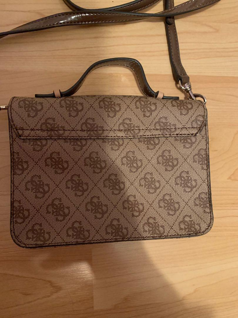 Guess Crossbody Brown Beige Monogram Purse a With Clutch