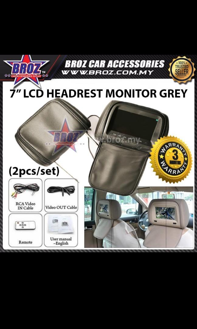 Headrest with LCD screen for DVD player
