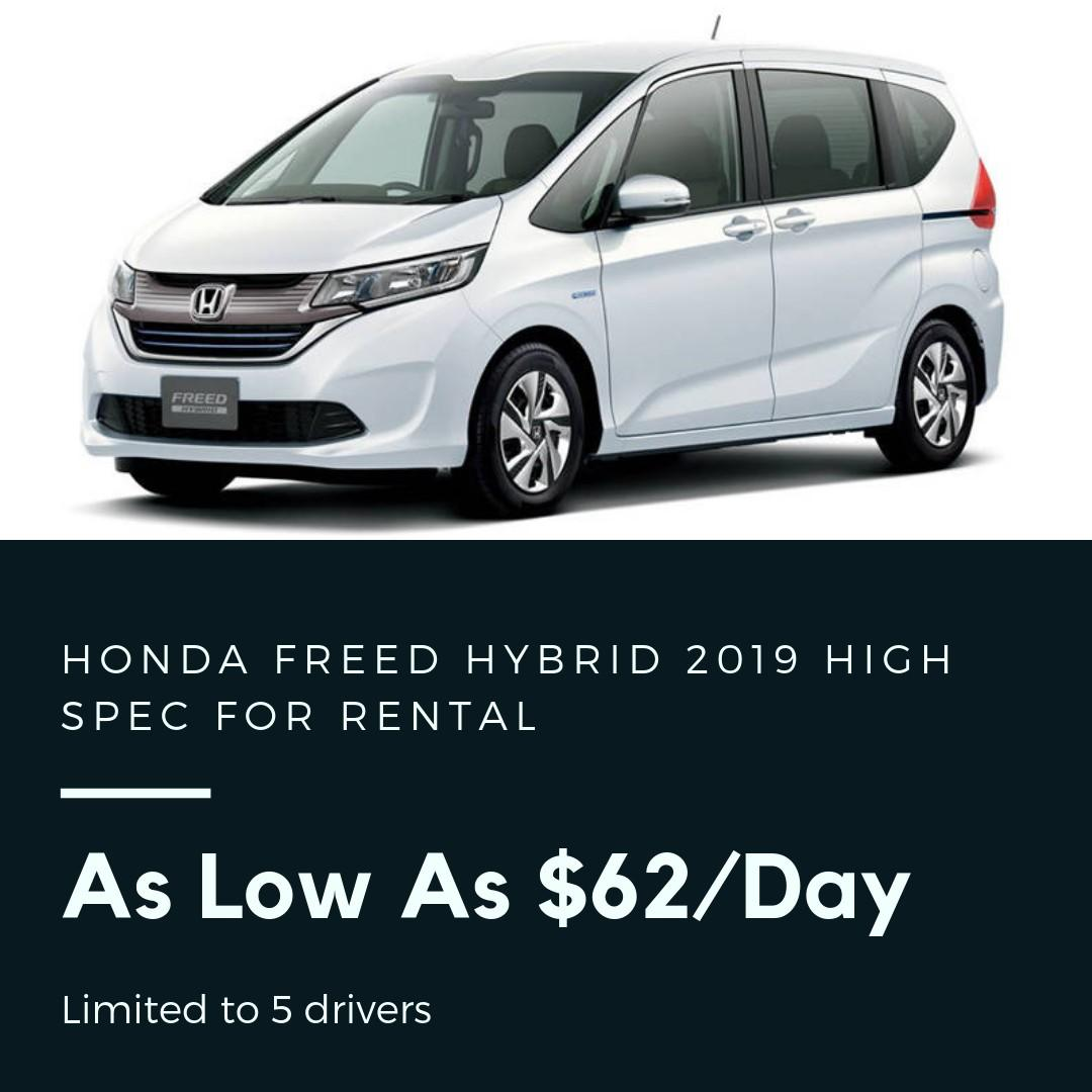 Honda Freed Hybrid 2019 High Spec As Low As $62/day