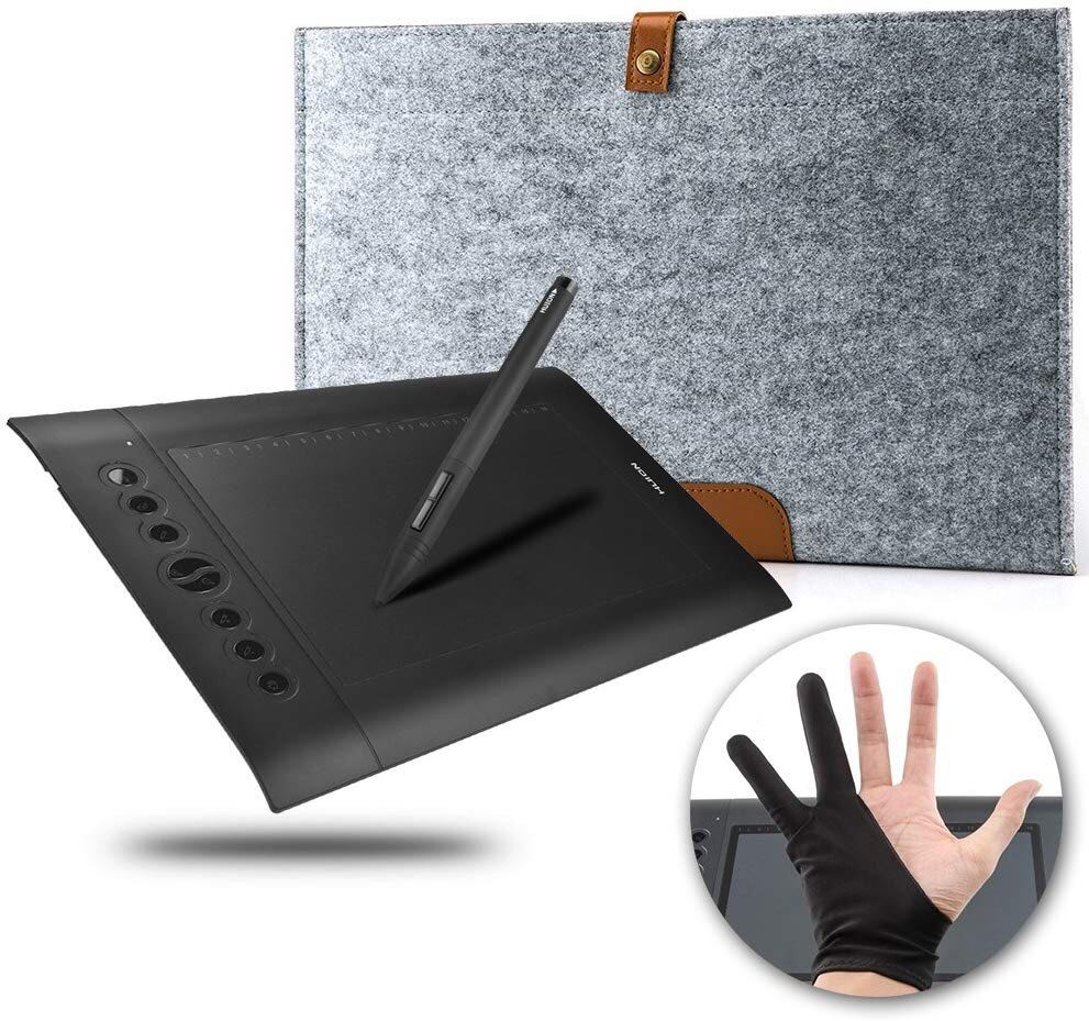 HUION H610 Pro Graphics Drawing Tablet + Anti-fouling Golve + 15 Inch Wool  Felt Liner Bag