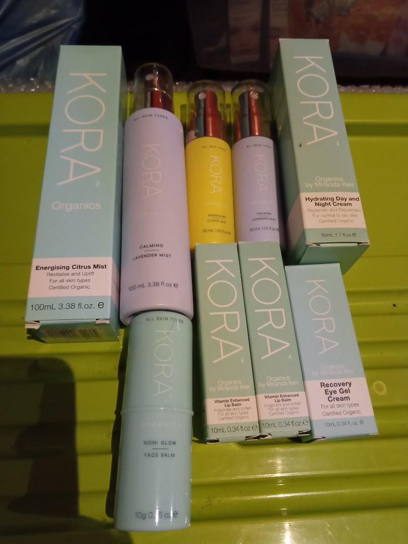 Kora organics - face mists, moisturiser.